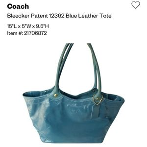 Coach Patent Leather Teal Bleeker Tote Bag